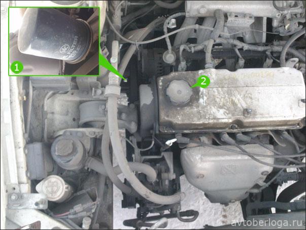 Расположение масляного фильтра и маслозаливной горловины в Mitsubishi Lancer 1999 года выпуска